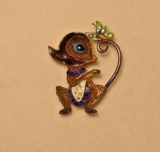 Vintage Chinese Enamel Sterling Silver Gold-Wash Filigree Lucky Mouse Brooch