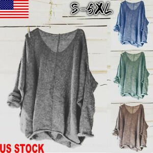 US-Women-Oversized-Knitting-Sweater-Loose-Blouse-Pullover-Plus-Size-Tops-Shirts