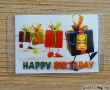 Goldbarren 0,1g Gramm: Happy Birthday + Zertifikat (PIM Gold Barren Geburtstag)