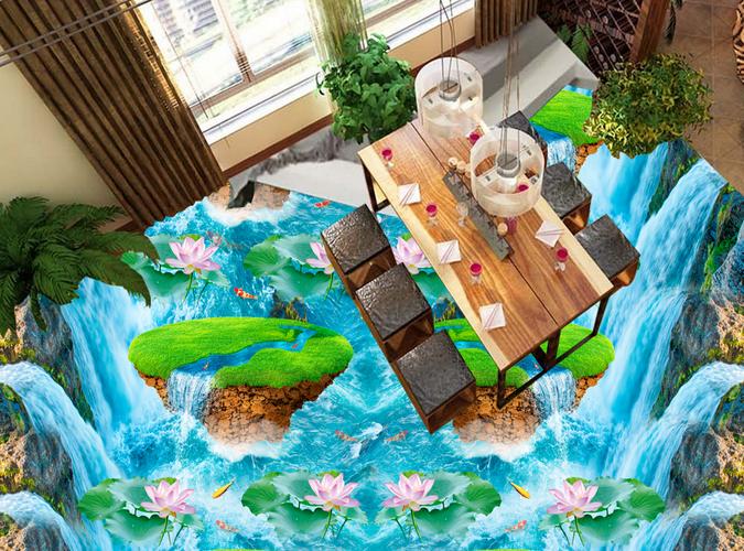 3D River Lotus Fish 5 Floor WallPaper Murals Wall Print 5D AJ WALLPAPER UK Lemon