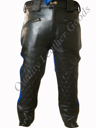 LEATHER AMERICAN BREECHES PADDED GAY BLUF BIKERS TROUSER PANT 30FN PARTY COSTUME