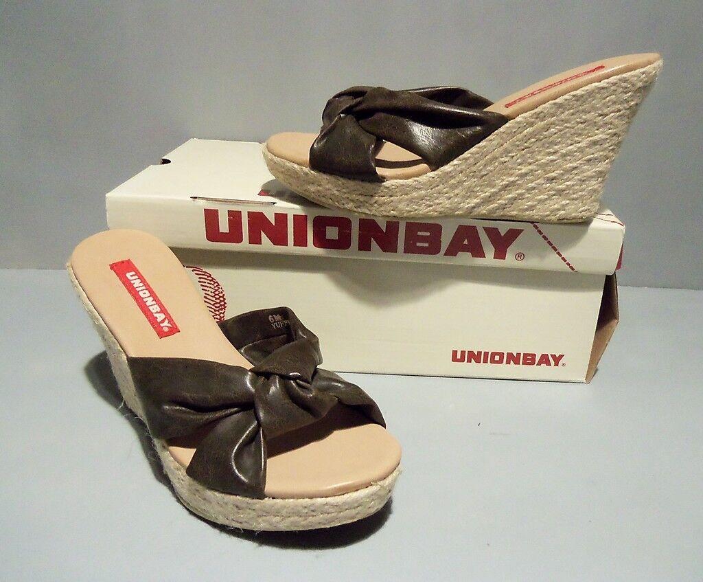 Unionbay Women's Notch Espadrilles Sandals Brown SIZES  NIB NEW Wedge Platform