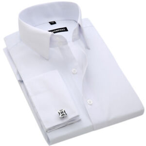 Mens-Long-Sleeve-Dress-Shirts-French-Cuff-Formal-Business-Work-Multicolor-EC6433