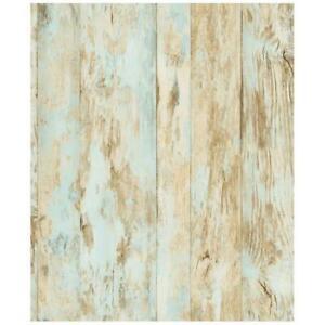 Wallpaper-Weathered-Faux-Wood-Planks-Tan-Aqua-Cream