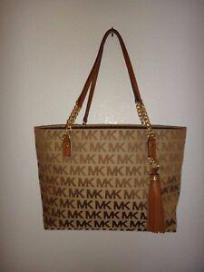 ce3dce00a6c88a MICHAEL KORS Jet Set EW Tassel Chain Tote Bag MK Signature Jacquard ...