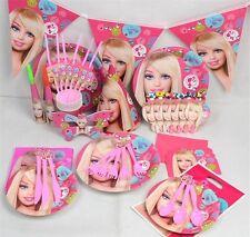 Barbie PARTY Supplies Set Bambini Piatti Bicchieri Tovaglioli cappelli festa di compleanno ragazza