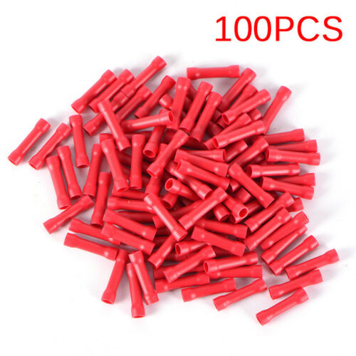 100PCS Insulated Wire Terminal Kit Spade Butt Ring Electrical Crimp Connector+v