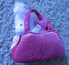 Aurora World Fancy Pals Pink Pet Carrier Girls Plush Handbag Toy & small poodle