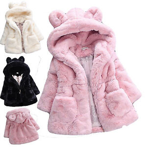 9f5f53b110d3 Cute Kids Baby Girls Warm Fur Rabbit Coat Hooded Thick Outerwear ...