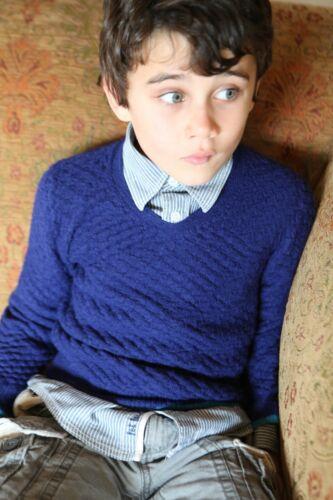 Plum of London BNWT 100/% Alpaca Children/'s V Neck Blue Ages 4-5 Was £69 Now £10