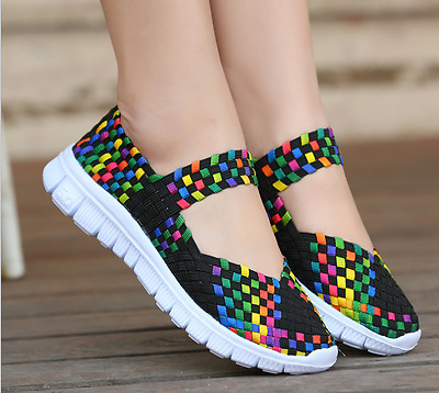 Women Woven Shoes Slip On Elastic Flat Shoes Summer Breathable Casual Sandals     eBay