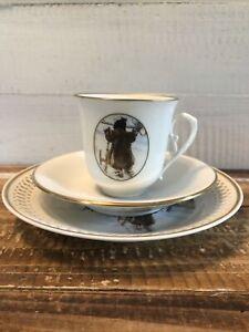 Vintage Bing & Grondahl 3 Piece Breakfast Set Plates Tea Cup Garden Og Udhuset