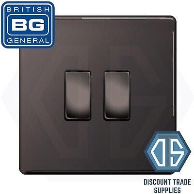 BG Black Nickel Screwless 2 Gang Switch 1x LED Dimmer 1x 1 or 2 Way Custom Grid