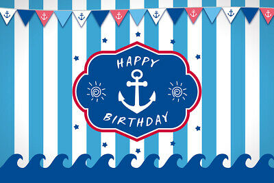 5x5FT Vinyl Photo Backdrops,Anchor,Anchor Shape in Lines Background for Selfie Birthday Party Pictures Photo Booth Shoot