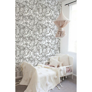 Non-Woven-wallpaper-Doodle-cats-pattern-Black-and-white-for-kids-room-Funny