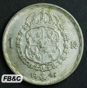 1945-Sweden-1-Krona-Silver-Coin-KM-814-Gustaf-V