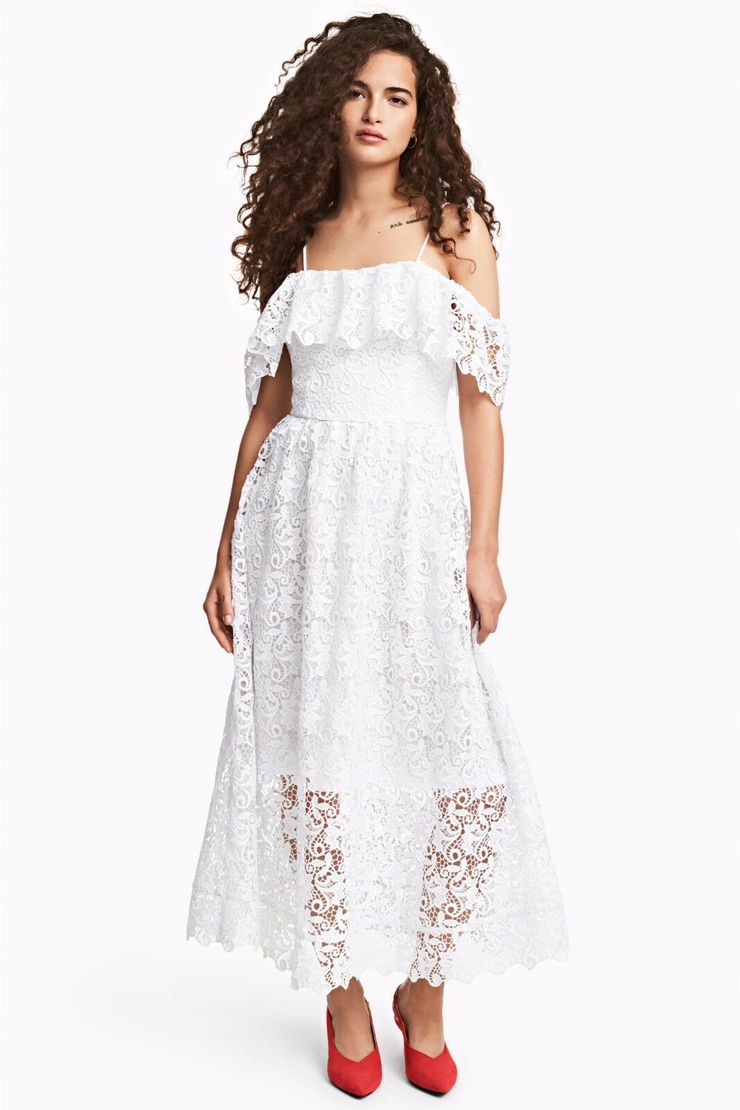 New H&M Off Shoulder White Heavy Lace Dress Bloggers