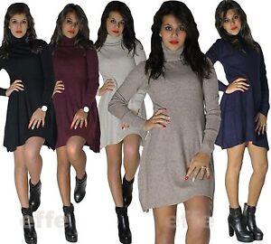 6fc1db7abdc8 Maxipull miniabito donna vestito maxi maglia abito maglione pullover ...