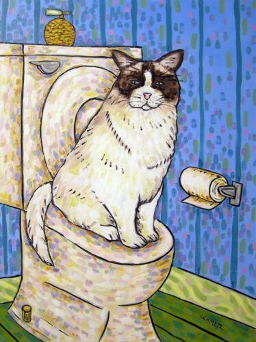 FLUFFY CAT in the bathroom  art print 8x10