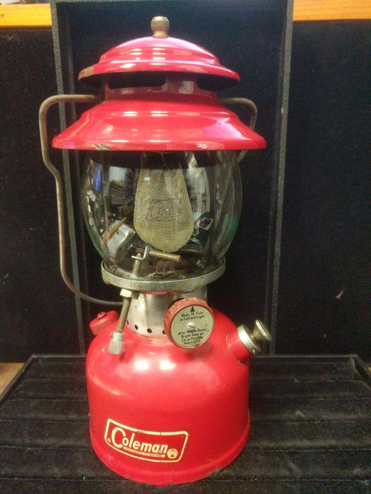 Antique Vintage Coleman top vent Lanter, Red model 200A, Pyrex Globe Red
