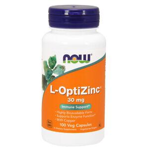 Zinco, L-OptiZinc 30mg x 100 Caps-Now Foods
