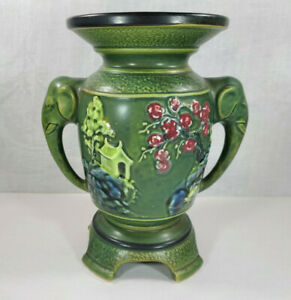 ANTIQUE-QING-CHINESE-ELEPHANT-HANDLED-CERAMIC-8-034-VASE-RARE-GREEN-VINTAGE-19th