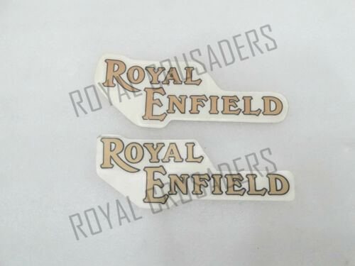 FOR PETROL TANK @JUSTROYAL PAIR BRAND NEW ROYAL ENFIELD GOLDEN STICKER