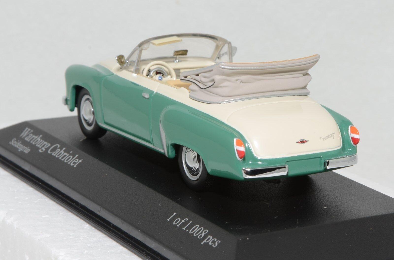 1 43 Minichamps 430 015934 015934 015934 Wartburg 312 cabriolet 1958 cream green MIB 4d059d