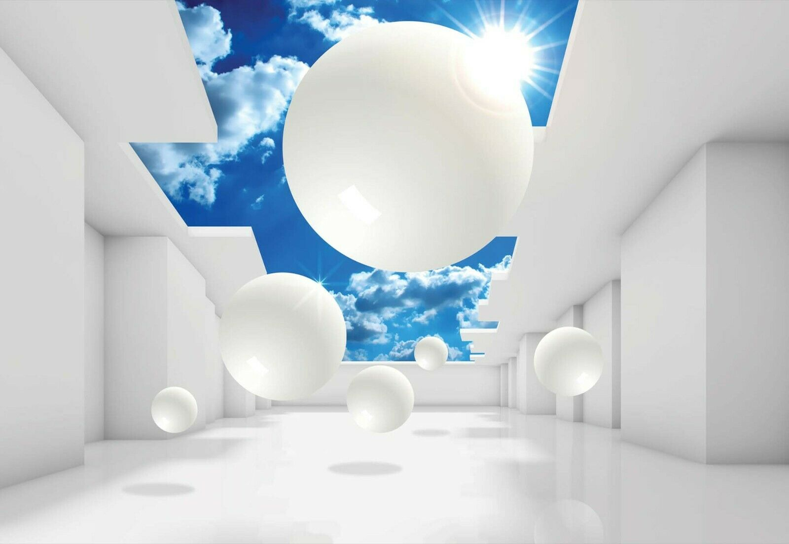 Details About 144x100inch Wall Mural Photo Wallpaper Abstract White & Blue 3D Adhesive