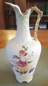 Antique-Beautiful-Austrian-Bohemian-Hand-Painted-Porcelain-Ewer-Vase-w-Flowers