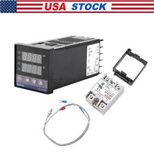 Pid Rex C100 Temperature Controller Ssr 40da K Thermocouple Probe Sensor Kit Usa