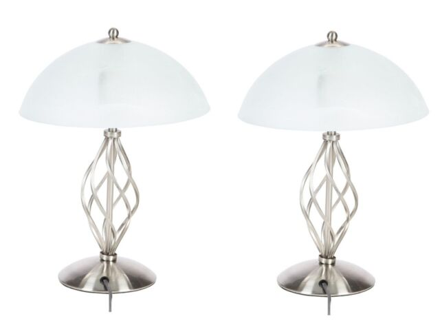 Pair of Modern Satin Nickel Bedside Table Lamps Glass Shade Lighting Lamp