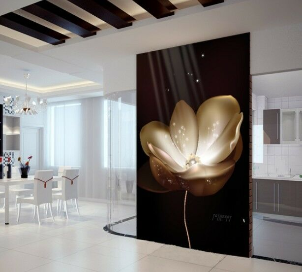 Black Elegant Flower Wall Paper 2.5m high and 3.0m wide with wall glue