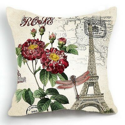 Retro Vintage Paris Eiffel Tower Rose Decorative Pillow Case Cushion Cover 18''