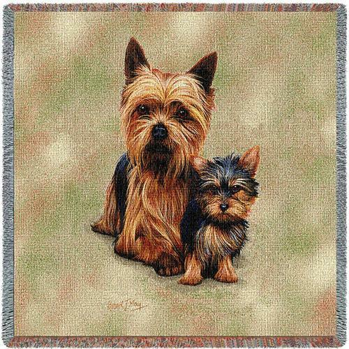 Lap Square Blanket Yorkshire Terrier w Pup Yorkie by Robert May 1136