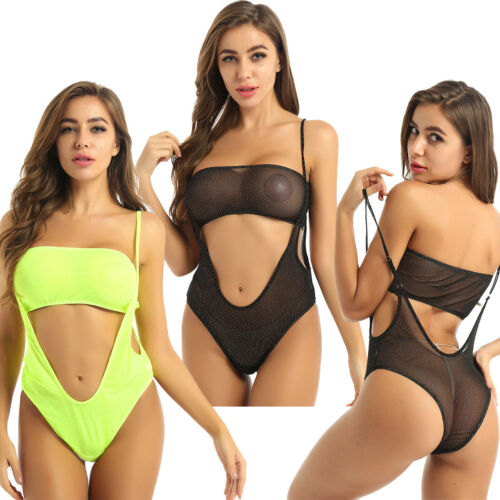 2Pcs Women See Through Crop Top Suspender Monokini Tube Bikini Cut Out Swimwear