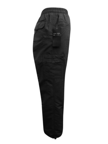 New Fleesce lined mens Winter Working Cargo Black Trousers Size XL