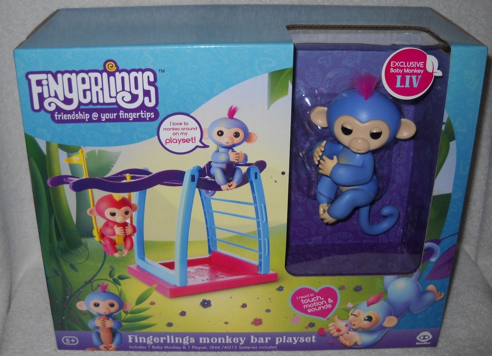 RARE Wowwee Toys NRFB Fingerlings Liv Monkey with Monkey Bar Playset