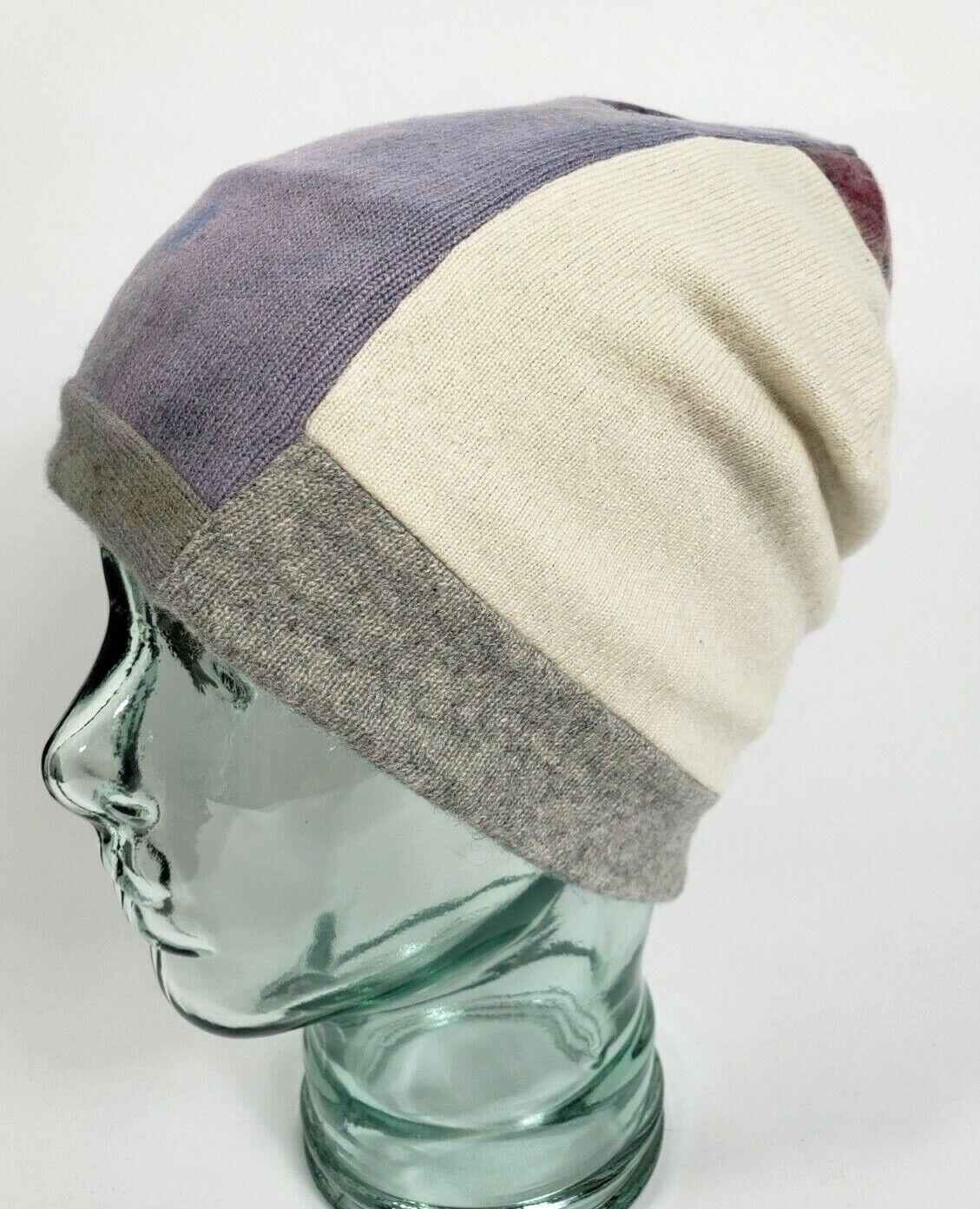 # 100% Pure Cashmere Sombrero Gorro Unisex Grueso Doble Púrpura Hecho a Mano Regalo A63
