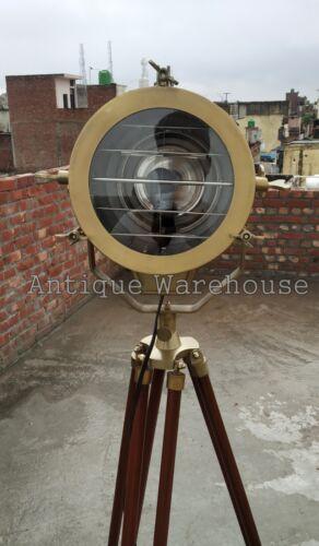 Antique Nautical Spot Light Wooden Tripod Floor Lamp Vintage Marine Searchlight