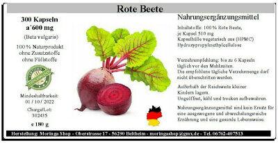 Rote Beete 300 Kapseln, (beta vulgaris) 100% vegan, 180 g ...