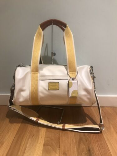 Coach Vintage White And Yellow Small Duffel