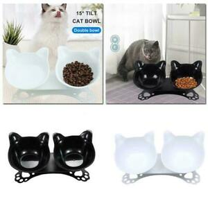 Non-slip Cat Double Bowls Raised Stand Pet Dish Food Feeder Water Bowl HOT- K8W9
