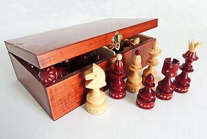 NUEVO-Rojo-Hecho-a-mano-de-madera-piezas-Ajedrez-en-marron-Caja-almacenaje