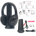 5 in 1 Hi-Fi Wireless Headsets Headphones + FM Transmitter for Laptops PC TV MP3