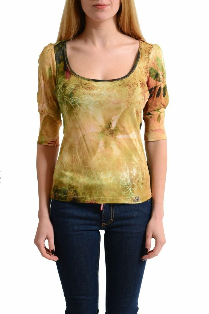 Galliano Woherren Multi-Farbe Floral 3 4 Sleeves Blouse Top Sz M L
