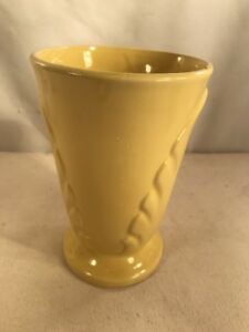 Vtg Mid-Century Pottery Art LARGE Shabby Cheery Yellow Cottage Deco Style Vase