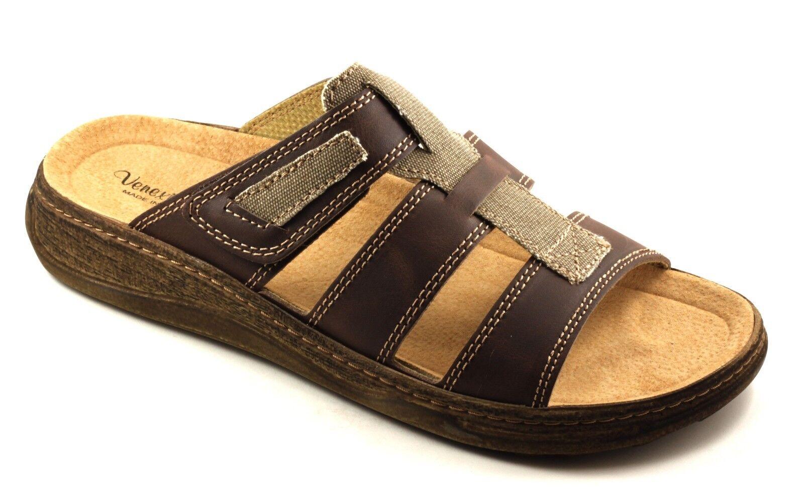 Sandali e scarpe per il mare da uomo 616630 CIABATTE UOMO PELLE NABUK MARRONE SANDALI PLANTARE ESTRAIBILE n.42