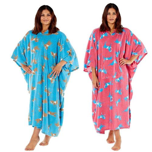 New Womens Horse Print Hooded Soft Fleece All in One Poncho Blanket Bath Robe
