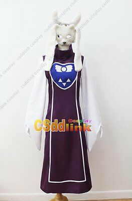 Undertale Protagonist Toriel Cosplay Costume with mask purple